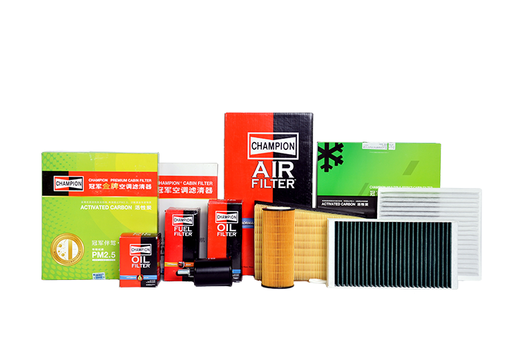 Assortment of Champion products spin on oil filter air filter cabin air filter